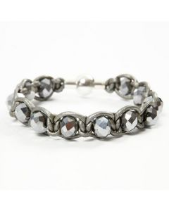 A silver Leather Cord braided Bracelet with faceted Beads