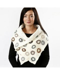 A felted Neck Warmer made from Pre-Felt Fabric and Merino Wool