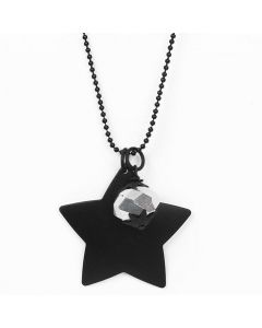 Black Bead Chain Necklace with faceted Bead & Metal Star Pendants