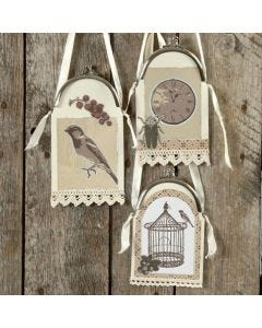 Card & Design Paper hanging Decoration in Purse Frame with Ribbon
