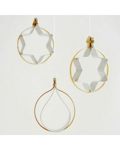 Hanging Decorations from flat gold & silver Aluminium Wire