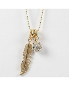 A Bead Chain Necklace with a Metal Feather and a Rhinestone Bead