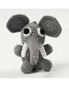 A crocheted sitting Elephant