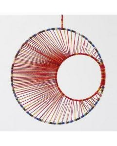 String Art – a Mobile made from Metal Rings with Yarn