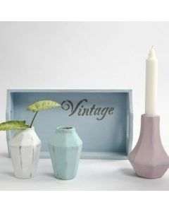 Small Terracotta Vases painted with Chalky Vintage Look Paint