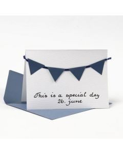 A Greeting Card decorated with Bunting from blue textured Paper