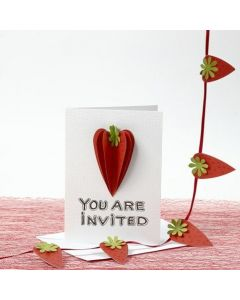 An Invitation decorated with 3D Strawberries from textured Paper