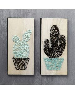 String Art Cacti on wooden Icons