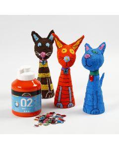 Painted and decorated Polystyrene and Gauze Bandage Animals