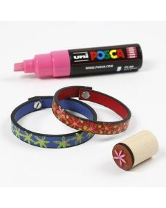 Leather Bracelets with Marker Drawings and Stamp Printing