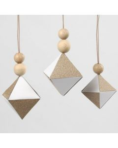 White Diamond Hanging Decorations with glittery Copper Paper