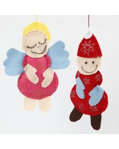 An Angel and a Father Christmas made from Felt with Glitter