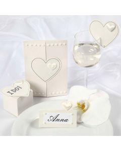 Satin Hearts on a Wedding Invitation and Wedding Decorations