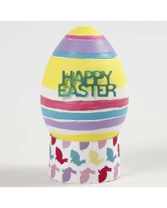 A lifelike painted and decorated white Plastic Egg