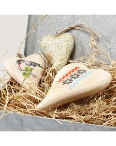 A wooden Heart for hanging, decorated with Decoupage Paper