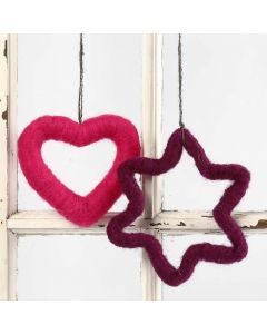 A Heart and a Star decorated with Needle Felting