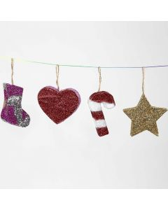 Christmas Papier-Mâché hanging Decorations with Glitter