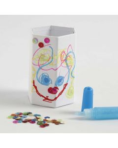 Hexagonal Pencil Holder decorated with Markers, Glitter & Sequins