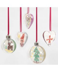 Two-piece transparent Hanging Decoration with Drawing & Glitter