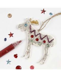Glitter Glue & Rhinestones on Wooden Christmas Hanging Decoration
