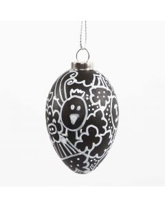 A black Egg with white Doodle Drawing