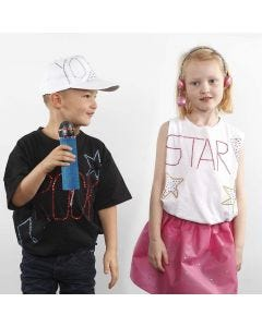A T-Shirt with Text and Designs made with Rhinestones