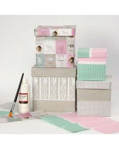 Large Boxes covered with Decoupage Paper