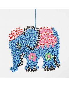 An Elephant from stripy Nabbi Beads on a Pegboard