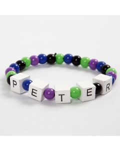 Elasticated Bracelet with Words composed with Letter Beads