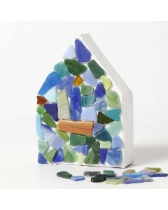 A painted Papier-Mâché House with Glass Mosaic