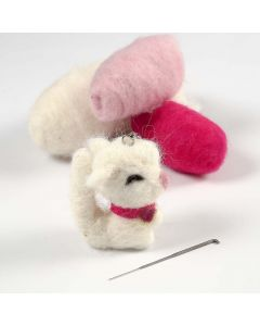 Needle Felting on a Fabric Animal on a Keyring