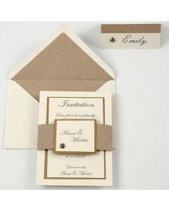 An off-white and copper Invitation and Place Card
