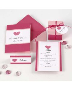 A pink and rose Invitation, Place Card and Menu Card and Table Decorations
