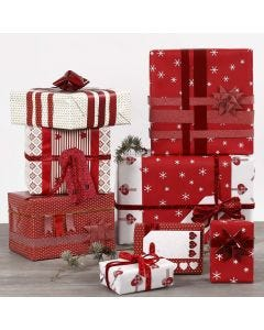 Red and white Gift Wrapping and Decorations