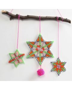 Nabbi Fuse Bead Stars decorated with Pom-poms