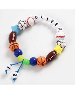 A Bracelet made from coloured elastic Beading Cord and (Letter) Beads