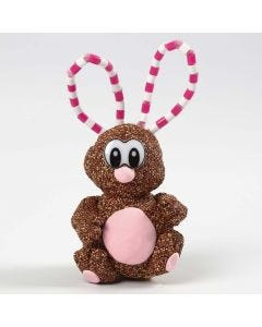 A Foam Clay and Silk Clay Easter Bunny with  Ears made from Pipe Cleaners and Nabbi Beads