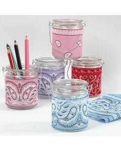 Candle Holders with Bandana Decoupage