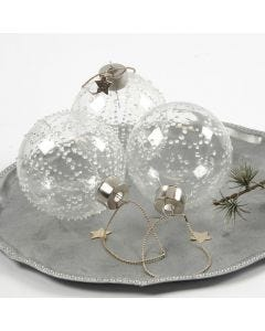 A Glass Bauble with Ice Dots made from transparent Glue