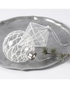 Glass hanging Decorations decorated with 3D Snow Effect
