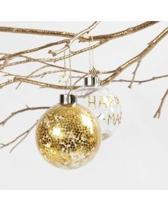 A Glass Bauble with small gold Stars inside