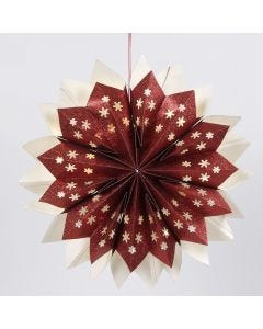 A Star made from glittery Paper Bags fitted with concealed battery-powered LED Lights