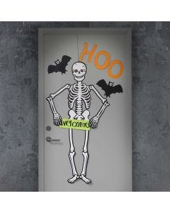 A Halloween Door decorated with a large Skeleton and Bats