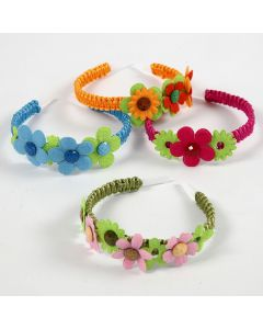 A Hair Band with Felt Flowers and Cabochons
