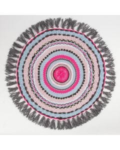A small Rug woven on a circular Loom
