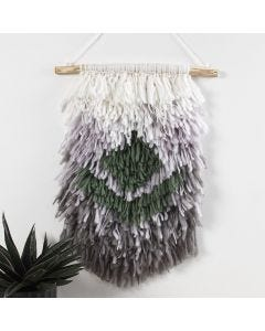 A Latch hooked Wall Hanging with woollen Yarn