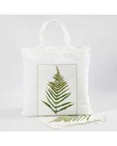 A Shopping Bag with a Leaf Design and an embroidered Border