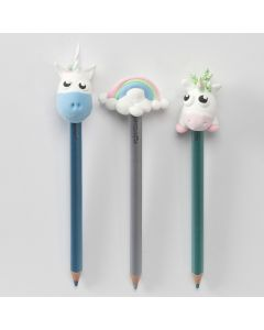 Colouring Pencils with Unicorns and Rainbow Pencil Head Decorations