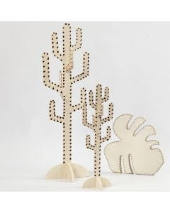 A Cactus and a Leaf decorated with a Pyrography Tool