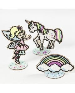 A wooden Fairy, a wooden Unicorn and a wooden Rainbow filled with Foam Clay